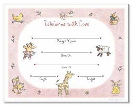 Girl Birth Certificate Template Baby Girl Birth Certificate Blank Girl ...