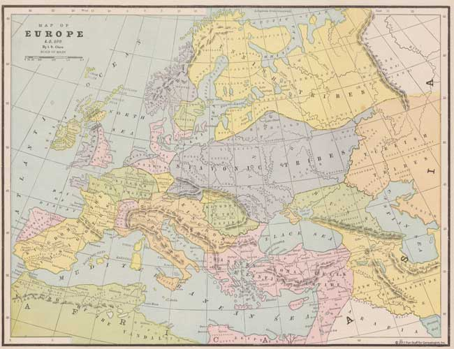 This is a full color reproduction of an map of Europe in 500 A. D. All of